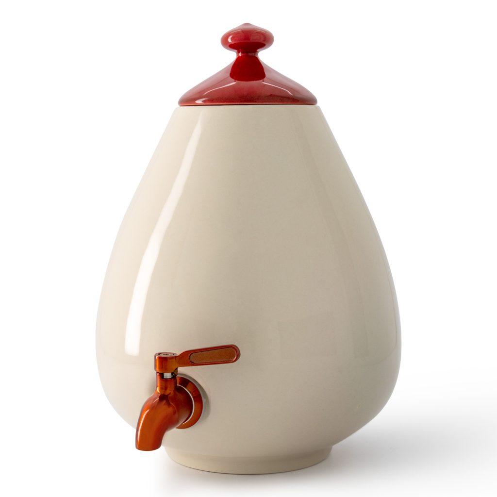 Color - Porcelain Light Dispenser with Red Tap