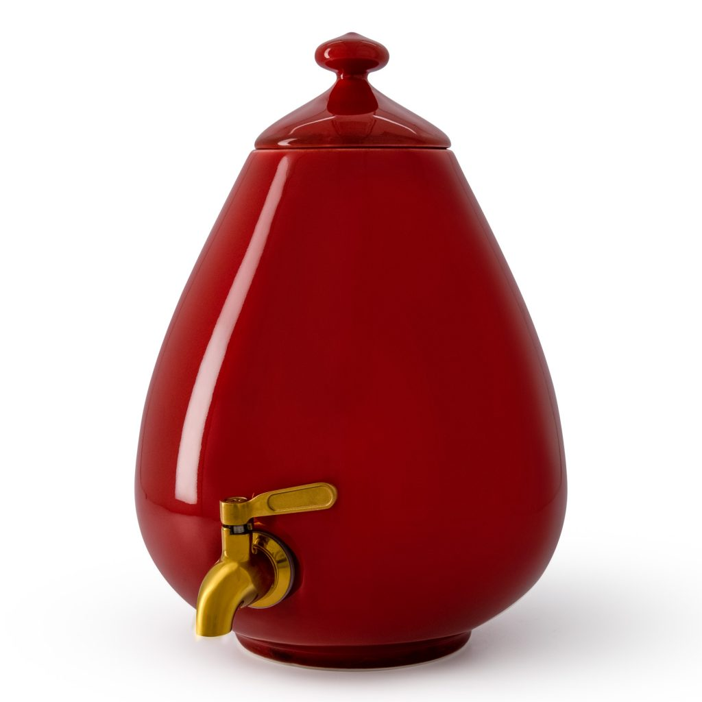 Color - Passion Red Dispenser with Gold Tap